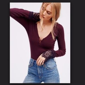 Free People Last Dance V Neck Lace Cuff Thermal